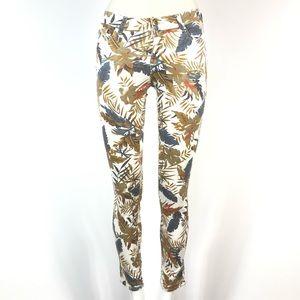 Zara skinny jeans tropical leaves